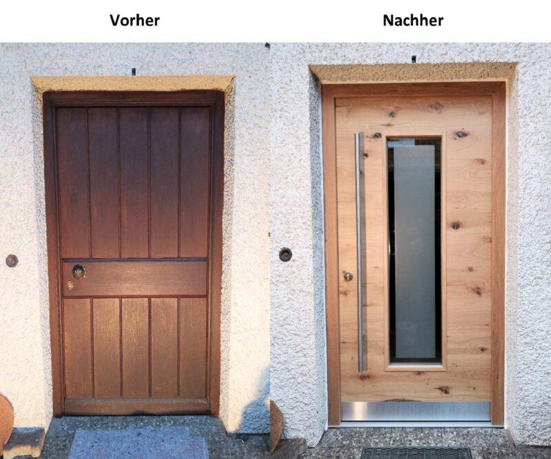 Haustür Asteiche Quer in Echtholz mit massiven Eicherahmen. RC2/RC3