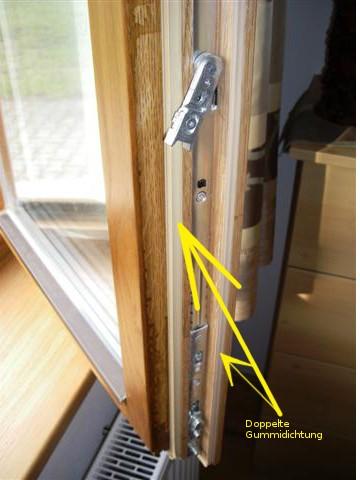 Eiche Holzfenster mit Doppelter Gummidichtung und Sicherheitsbeschlag