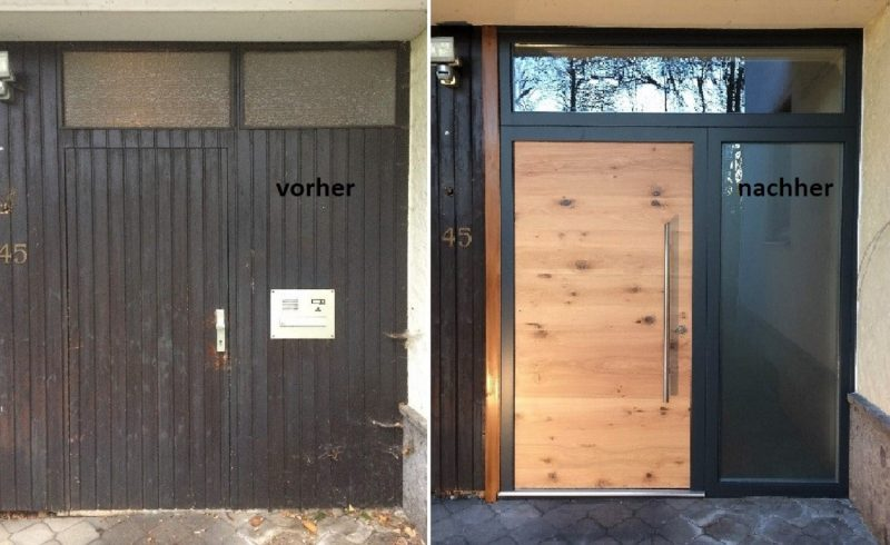 Haustüre Asteiche Echtholz und antrahzitgrauem Rahmen, Oberlichte