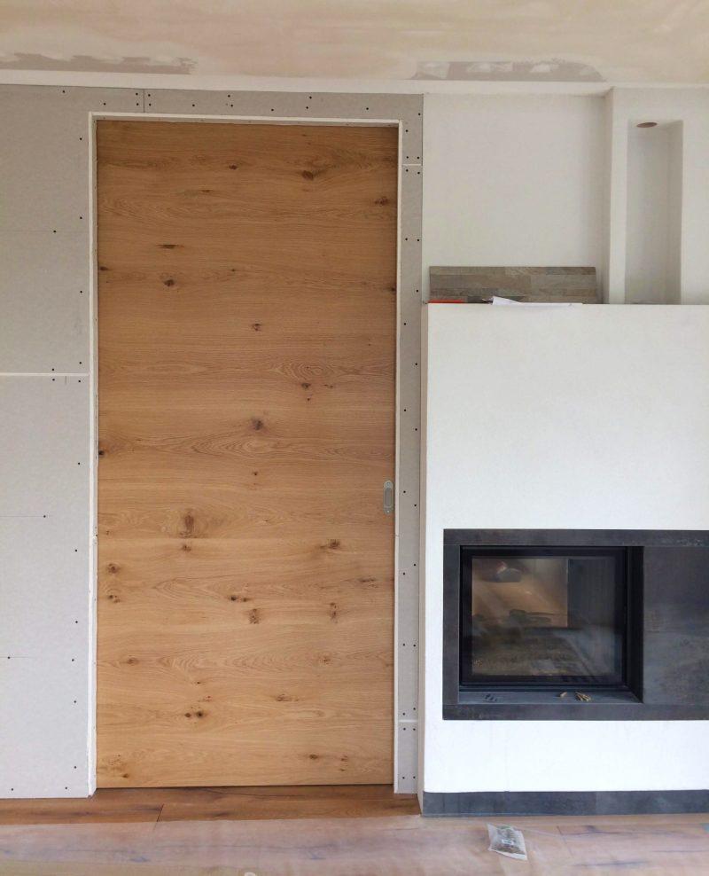 Schiebetür Raum hoch in Asteiche Echt-Holz mit Soft-Close