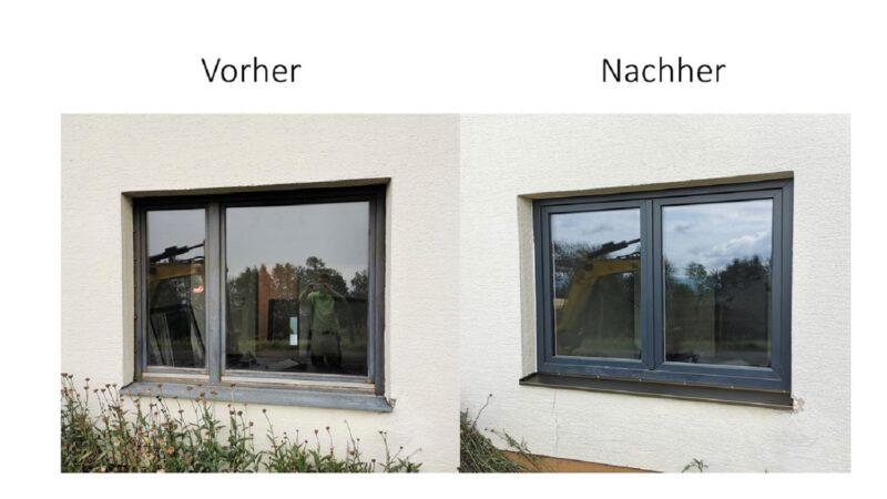 Kunststofffenster in anthrazit grau. Mit unserem Renovierungssystem erneuert. Kein Verputzen nötig.Innen und Außen verfugt mit BTI 4W System